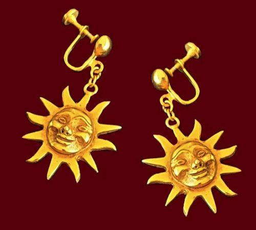 Sunburst gold tone earrings