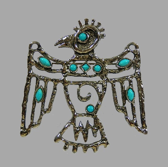 Thunderbird faux turquoise pin pendant