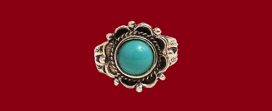 Turquoise cabochon silver ring