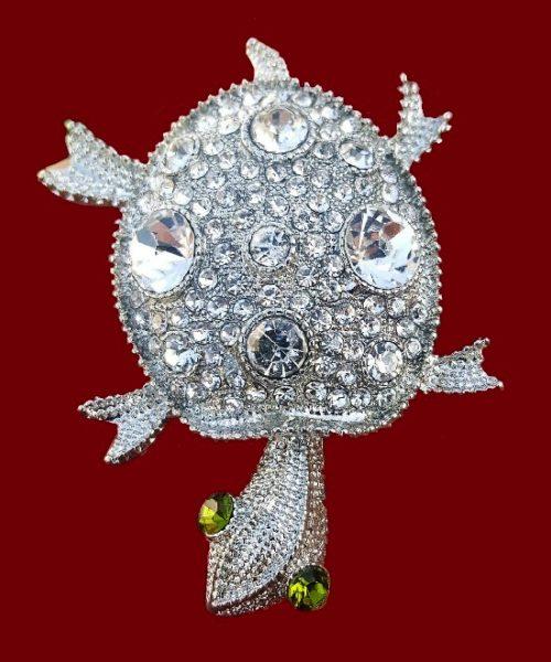 Turtle brooch pin. Silver tone metal, clear crystals, rhinestones