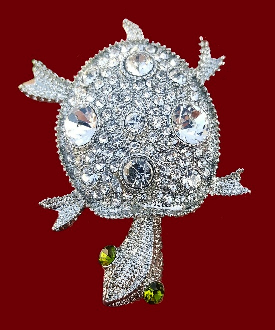 Turtle brooch pin. Silver tone metal, clear crystals, rhinestones