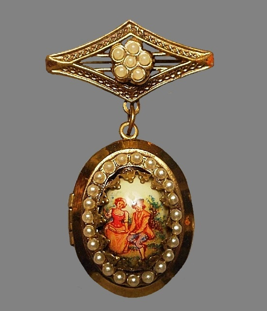 Victorian Style Locket Brooch - Miniature of Lovers. 1950s