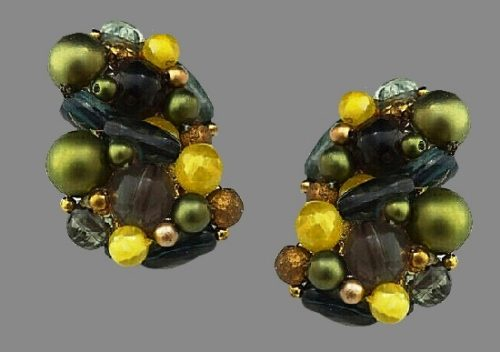 Yellow, green and gold bead cluster earrings