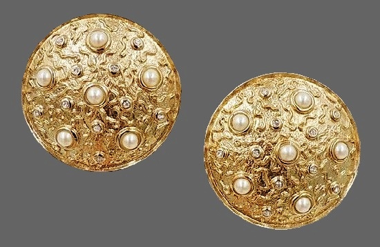 1980s goldtone faux-pearl and paste domed clip back earrings