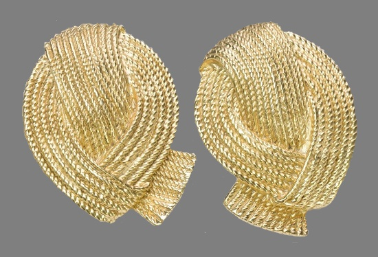 1980s knot earrings of gold tone textured metal
