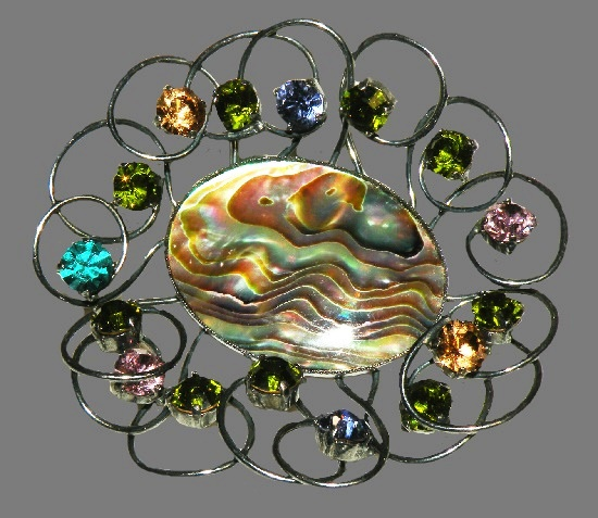 Abalone Multi-Color Rhinestone Gun Metal Wire Brooch