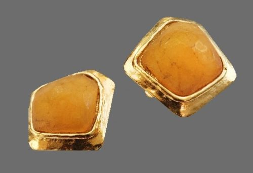 Amber beige stone in a gold plating setting earrings