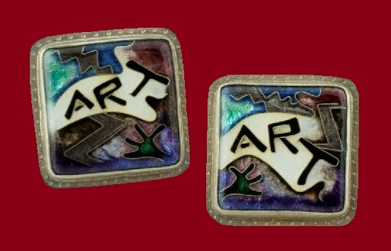 Art Cuff Links. Sterling silver, enamel