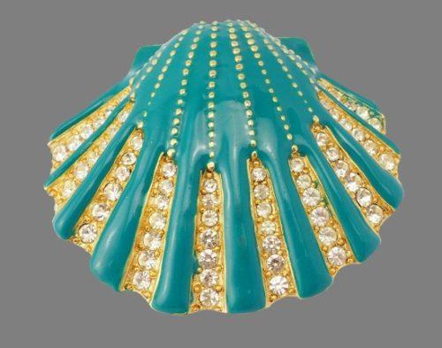 Art Deco sea shell pin brooch. Enamel, rhinestones