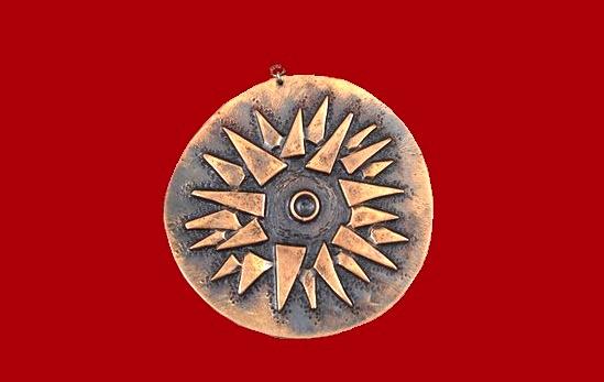 Avant garde Sun pendant. 7,5 cm diameter. 1960s