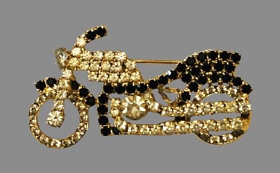 Beautiful motorcycle brooch pin. Gold tone metal, rhinestones
