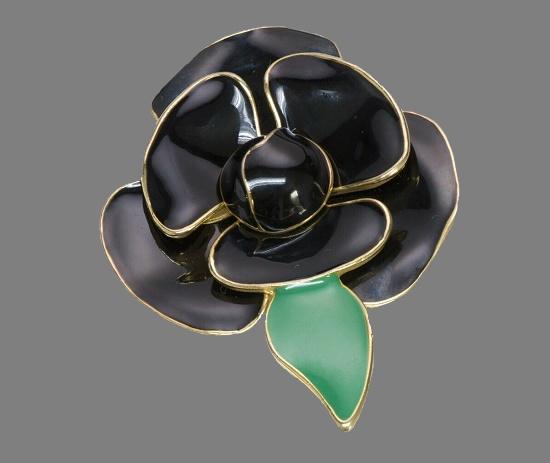 Black Enamel Flower Brooch. 1980s