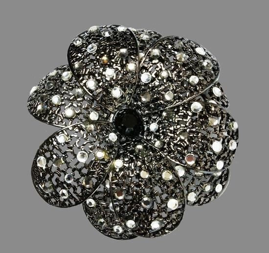 Black Flower brooch. Blackened silver, Swarovski crystals