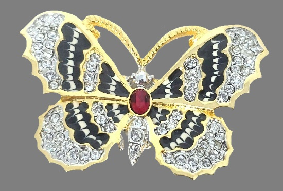 Black and white butterfly brooch. Gold plated, enamel, Swarovski crystals