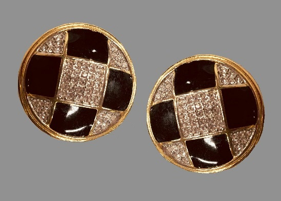 Black and white enamel and rhinestones clip on earrings