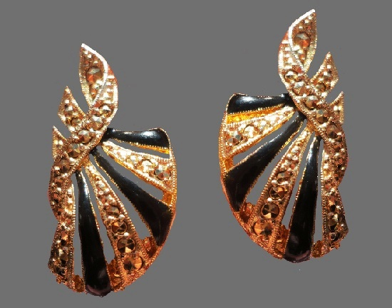 Black and yellow enamel marcasite gold tone earrings