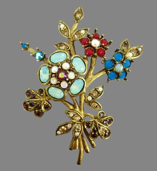 Bouquet of flowers brooch. Gold plated, moonstone glass cabochons, crystals