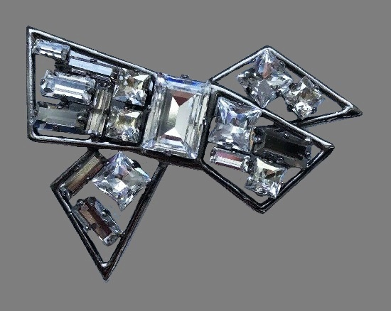 Bow brooch with bar crystals, silver tone metal