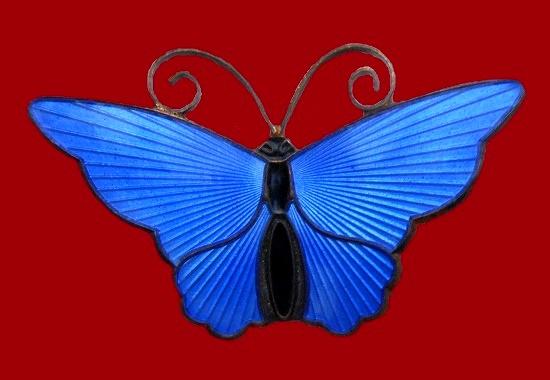 Butterfly brooch. Blue enamel, sterling silver