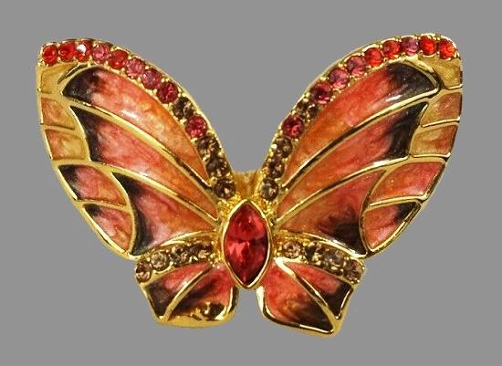 Butterfly ring. Gold tone metal, enamel, rhinestones