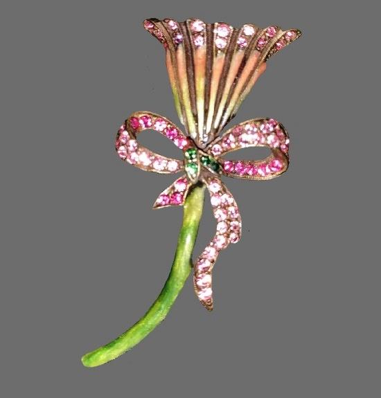 Calla Lily brooch. Gold tone metal, enamel, Swarovski crystals