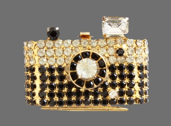 Camera locket. Clear and black rhinestones, gold tone metal