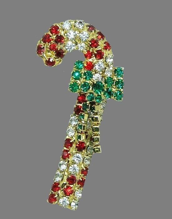 Candy cane rhinestone brooch