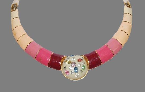 Chocker necklace multicolor enamel, rhinestones