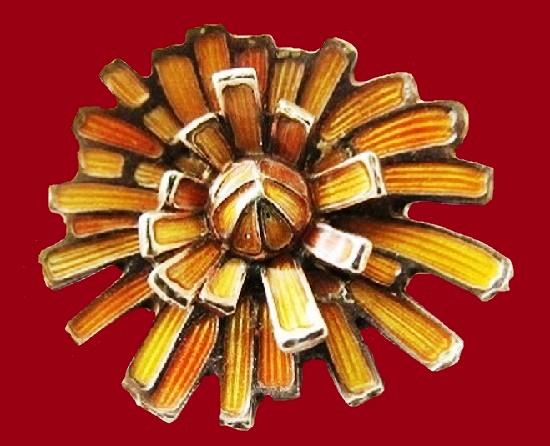 Chrysanthemum brooch. Sterling silver, golden enamel