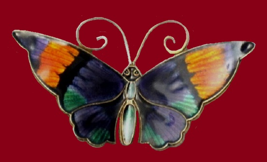 Colorful butterfly brooch. Enamel, sterling silver