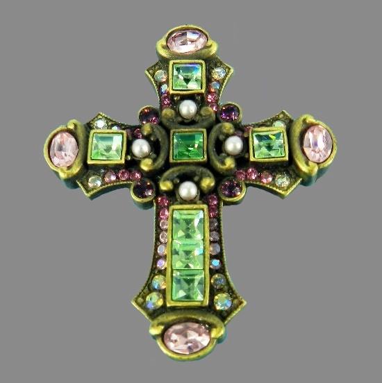 Cross brooch pendant. Gold tone metal, gilding, rhinestones, crystals