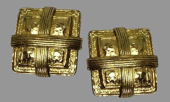 Cross tied square shaped clip on earrings, gold tone textured metal