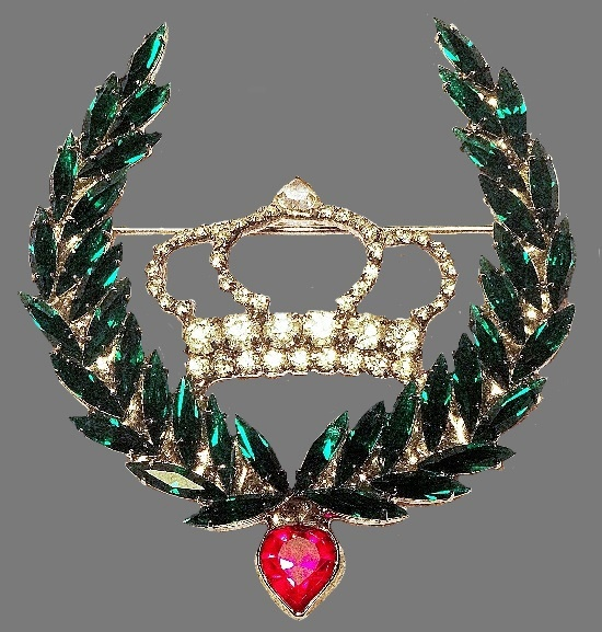 Crown and Laurel Wreath Brooch, gold tone, pink and green rhinestones, clear crystals