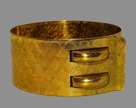 Cuff bracelet, gold tone textured metal