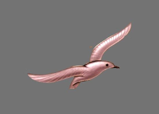 Seagull brooch. Silver, enamel. 6 cm