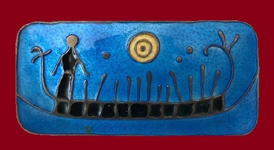 Designed by Nora Gulbrandsen blue enamel rock carving Viking Ship