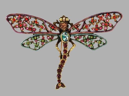 Dragonfly Pin. Brass, enamel work, purple crystal