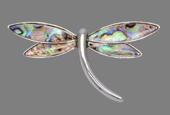 Dragonfly brooch. Silver tone, multicolor enamel