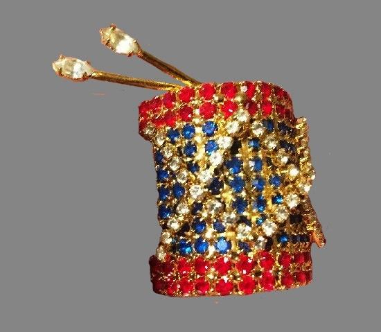 Drum brooch pin. gold tone, multi-color rhinestone