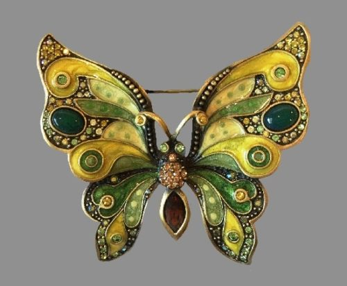 Exquisite Butterfly Pin. Hand enameled, Swarovski crystals, semi precious stones