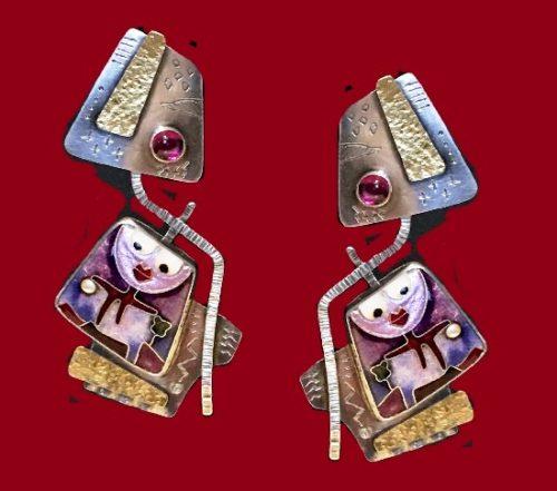 Fabulous pair of fine modernist cloisonne enamel, sterling silver and 22k yellow gold earrings