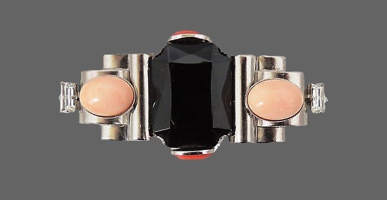 Faux-onyx with cabochon bar statement pin brooch