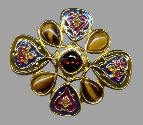 Figural pin brooch. Gold tone, cabochons