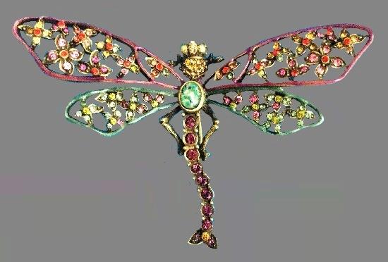 Floral Dragonfly pin. Brass, filigree work, enamel, Swarovski crystals crystal
