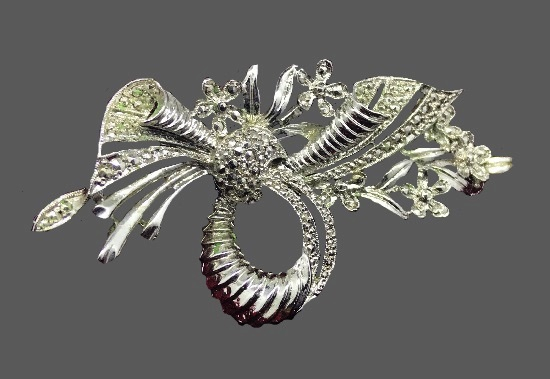 Floral bow marcasite brooch pin, collectible vintage