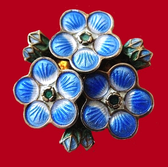 Forget-me-not brooch. Sterling silver, enamel