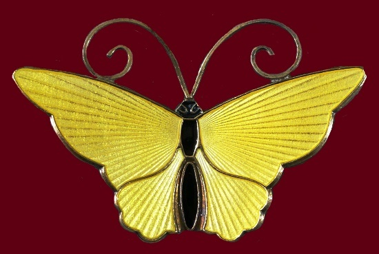 Gold gilt sterling silver enamel butterfly brooch