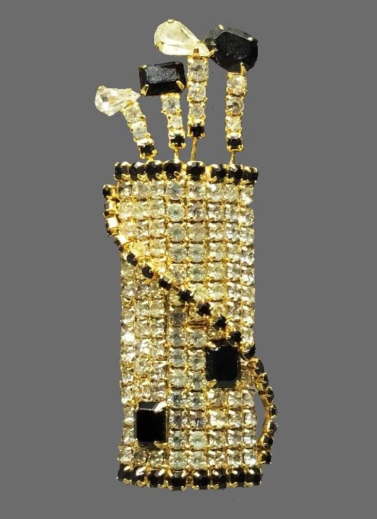 Golf club bag brooch. Gold tone, clear and black rhinestones