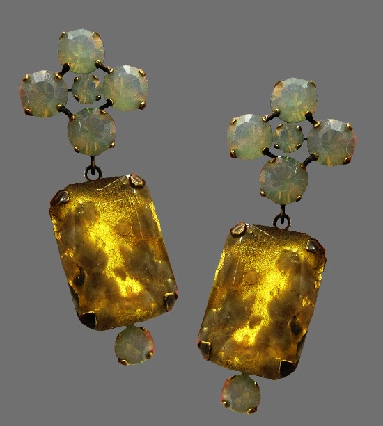 Green and amber color lucite earrings