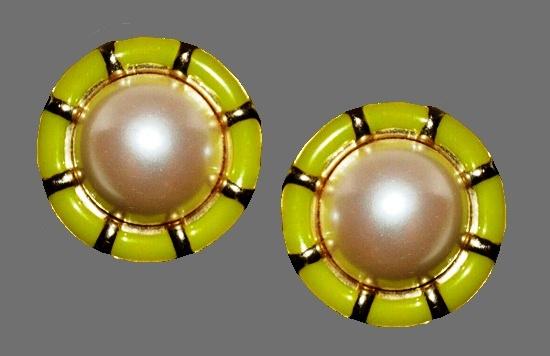 Green enamel, faux pearl gold tone metal round clips